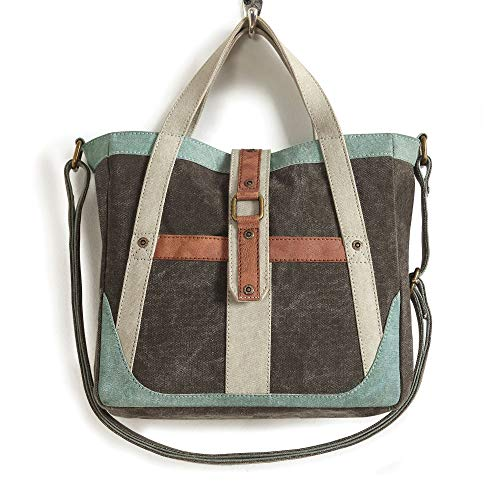Mona B. Recycled Vintage Upcycled Canvas Portland and Escape the Ordinary Collection with Vegan Leather Trim (Portland) (Escape-Crossbody)