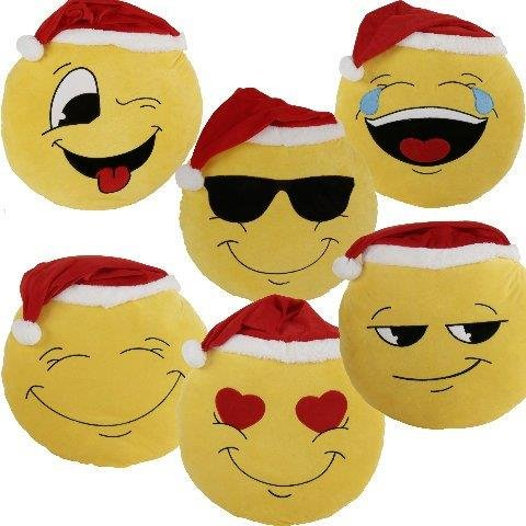 MT Kissen Emoji Xmas Weihnachtskissen 50 cm Emoticon Emojicon Lach Smiley mit Mütze Weihnachtsmütze Sitzkissen, Stuhlkissen Sofakissen Dekokissen Kuschelkissen (Augen zu)