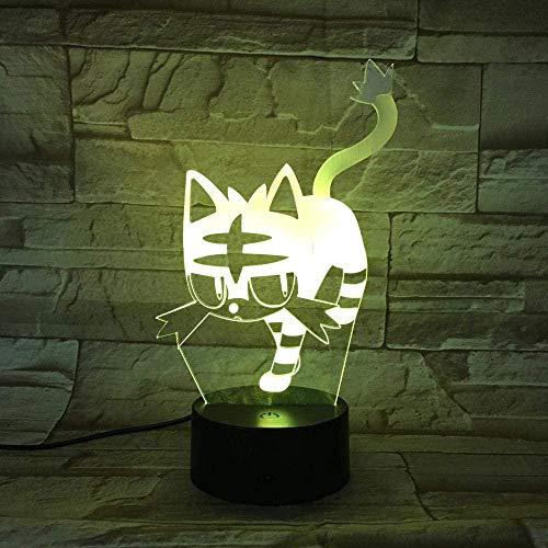 3D-Illusionslampe LED-Nachtlicht-Wecker Cat Touch Table 7 Farben Wechselschalter Neuheit Nachtlichter USB-Licht -809