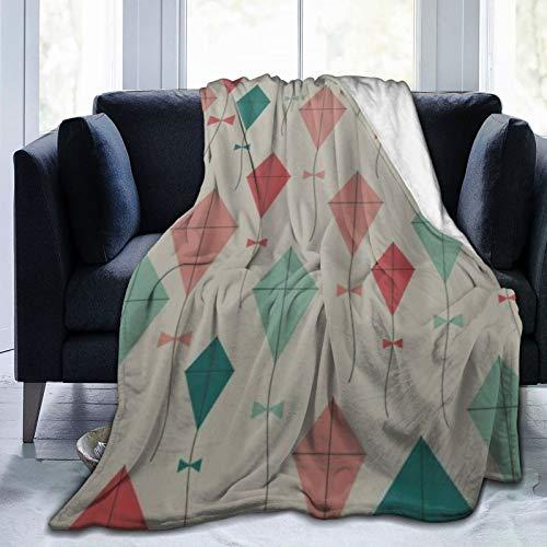 QIUTIANXIU Mantas para Sofás de Franela 150x200cm Spring Children Play Game Toy Kite Manta para Cama Extra Suave