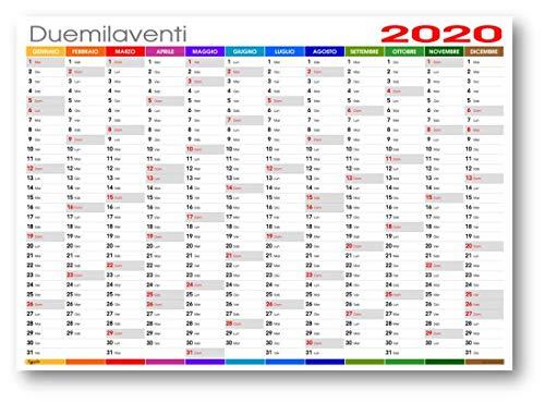 Calendario da muro 2020 COLORS planning annuale 87x62 (170 gr patinato opaco) planner da muro spedito arrotolato