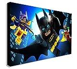 FAB Lego Batman DC Comics–Décoration Murale sur Toile Affiche Encadrée–Différentes Tailles, Noir/Blanc, A1 32x24 inches