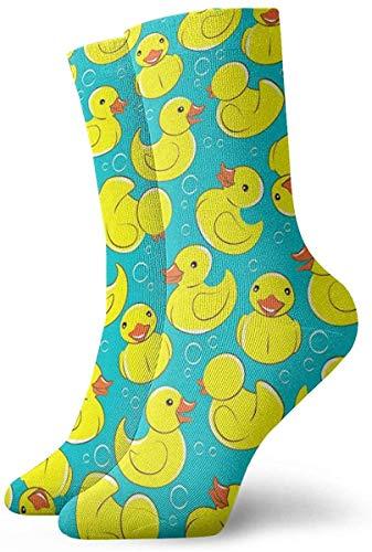 DLing Lustige Socken, Crew, Gelb, Ente aus Gummi und Blasen, bedruckt, Sport, Athletik, 30 cm, lang, Geschenk