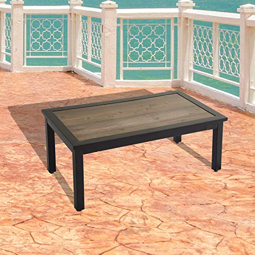 Festival Depot Metal Outdoor Furniture Side End Coffee Table Patio Bistro Square Dining Table Top with Steel Legs Black (Rectangle)