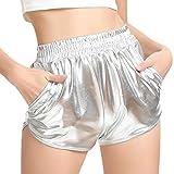 SHOBDW Mujeres de Moda elásticos de Cintura Alta Yoga Pantalones Deportivos Sexy Pantalones Cortos Delgados Brillantes Pantalones metálicos Polainas (XL, Plata)