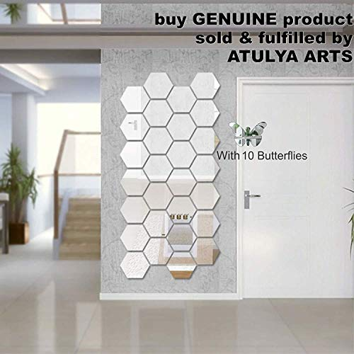 Wall1ders Atulya Arts 3D Hexagon Acrylic Decorative Wall-Stickers with 10 Butterfly Stickers(Silver) - Pack of 28