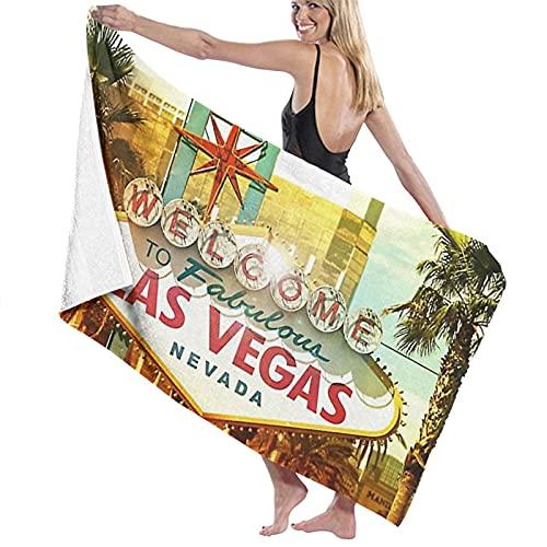 Neon Fabulous Vegas Welcome Las Play City Casino Poker Nevada Toallas de playa para mujeres y hombres de secado rápido, manta de alberca multiusos grande 80 x 130 cm