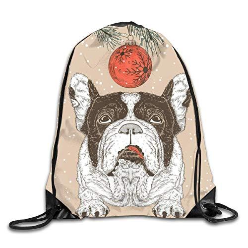 BK Creativity Drawstring Backpack,Vintage Christmas French Bulldog Dog Drawstring Tote Bag,Premium Drawstring Backpacks For Adults Boys Girls,36x43cm