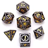 Hollow Metal DND Game Dice Black and Gold Gear Numbers 7Pcs Set for Dungeons and Dragons RPG MTG Table Games D&D Pathfinder Shadowrun and Math Teaching