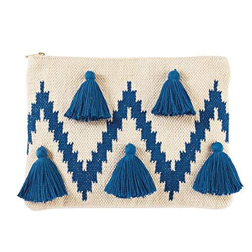 """Mud Pie Women's Chevron Tassel Clutch Blue, 9"""" x 12"""""""