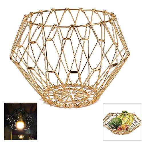 Jion Ware Flexible Wire Fruit Bread Basket Transforming For Fruit Bread or Decorative Items kitchenware ,Gold