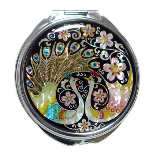 Mother of Pearl Peacock Pair and Flower Design Double Compact Magnifying Purse Mirror, 3.2 Ounce by Antique Alive