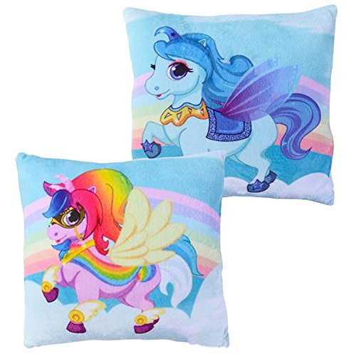Meet Novelty Unicorn Rainbow Pillow 10 X 10 inches Square Toss Pillow | Character Decorative Small Pillow, Girls Kids Love Them | Soft & Cuddly for Your Bed Sofa Chair or Couch | Set of 2 (Rainbow)