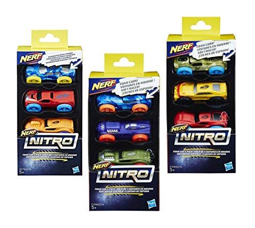 Hasbro- Nerf Nitro 3 Coches, Multicolor (774C)