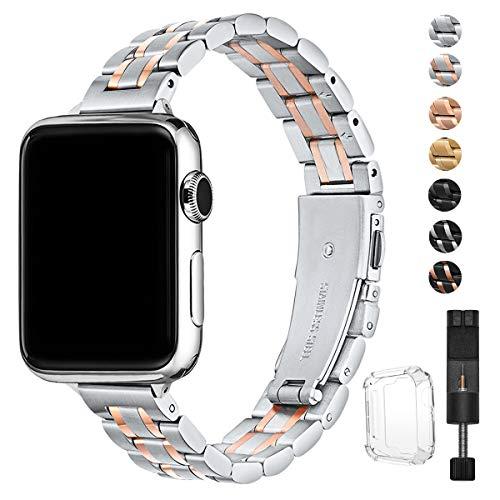 HEKAI Armband Kompatibel mit Apple Watch Armband 38mm 42mm 40mm 44mm Metall,Schlank Verstellbare Edelstahl Ersatzbänder für die iWatch Serie 6&5/4/3/2/1,SE (42mm 44mm, Silber&Roségold)