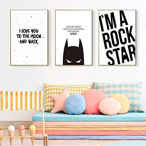 WADPJ Cita de póster de Batman Blanco y Negro Impresión de Lienzo nórdico Pintura de Arte Minimalista Cuadro de Pared Decoración de la habitación del niño-40x50cmx3 Piezas sin Marco