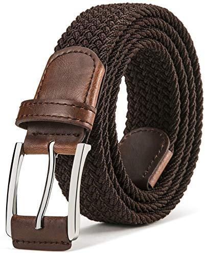 BULLIANT Cinturón Trenzado Elástico,Tejido Extensible Cinturón para Hombres y Mujeres Hebilla de...