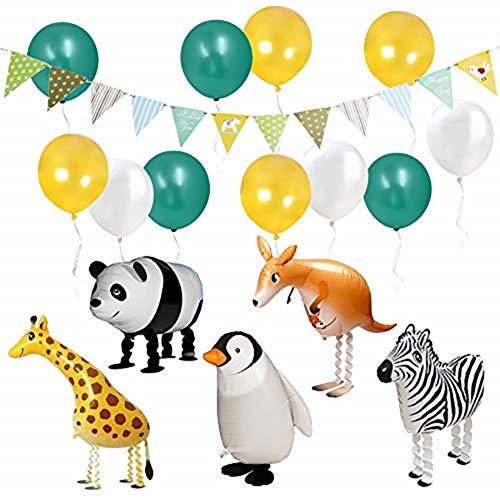 ETLEE Jungle Party Deko -Walking Tier Ballons & Dreieck Flagge Banner & Latex Luftballons für Zoo/ Dschungel Thema Geburtstag