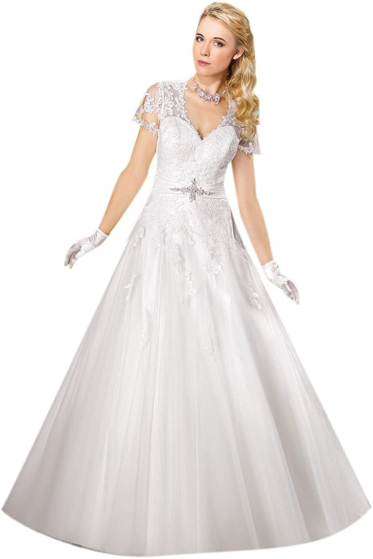 Dearta Women's ALine Princess VNeck Court Train Tulle Wedding Dresses