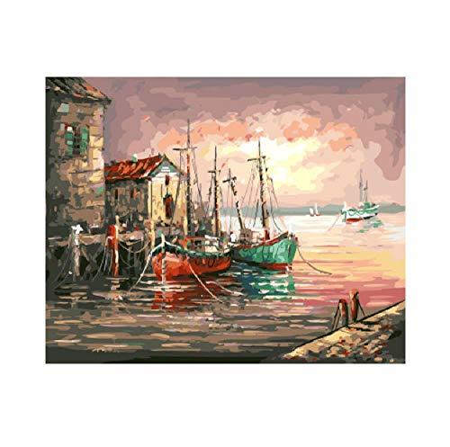 WYTTT Malen Nach Zahlen Anzahl Gerahmte DIY Wandfarbe Bilder Malerei Amp; Kalligraphie DIY Ölgemälde Wohnkultur Für Wohnzimmer 16X20 In Rahmenlose