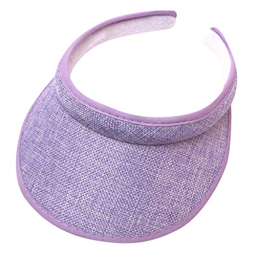 NLGToy Sun Sports Visor Men Women - 100% Cotton Linen Cap Hat,One Size Soft, Lightweight & Adjustable Cap,Best for Outdoor Sports Camping Hiking,Running, Tennis, Golf & All Sports (Purple)