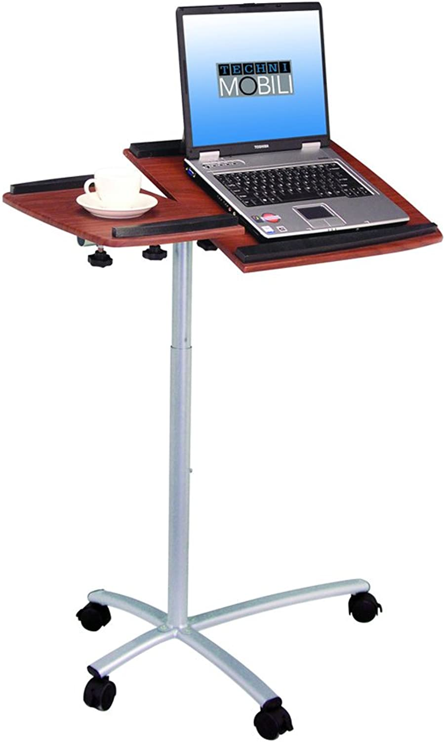 Techni Mobili Rolling Laptop Stand In Mahogany