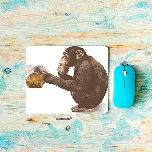 Alfombrilla de ratón Monkey Gaming, Mono Sentado en Sus ancas con una Mirada pensativa y sosteniendo en Sus Patas Un Vaso de Cerveza Alfombrilla de ratón Alfombrillas de ratón de Goma Antideslizantes