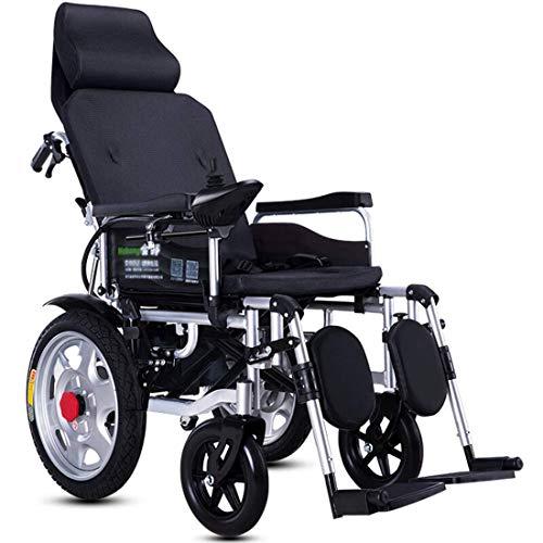 Werfft Heavy Duty Elektrische rolstoel met hoofdsteun, opvouwbaar en licht elektrisch aangedreven verstelbare rugleuning en pedaalhoek, 360 graden, gewicht 120 kg