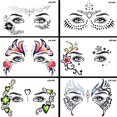 Pinkiou Pegatinas de arte facial Las mujeres se enfrentan al ojo Tatuaje temporal del festival Pegatinas impermeables (6 piezas)