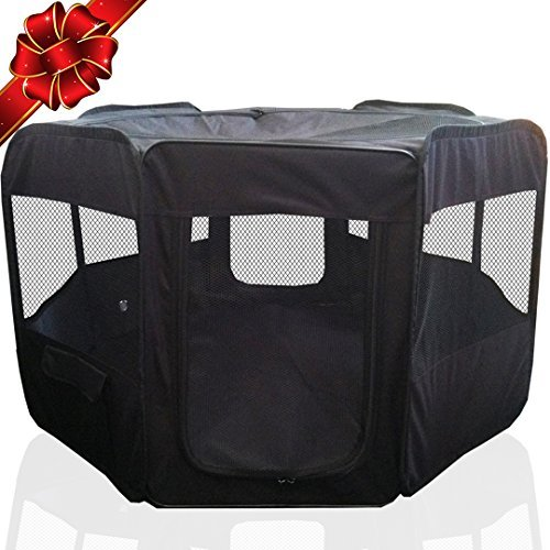 ToysOpoly Portable Pet Playpen Puppy Kennel - Best for Small and Medium Size Dogs and Cats - Simple Folding Design for Easy Storage (Black)