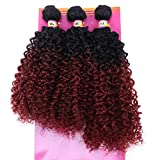 Synthetic Weave 3 Bundles Kinky Curly 16 18 20 Inches Mixed 2 Tone Ombre High Temperature Heat Resistant Fiber(T1/99j#)