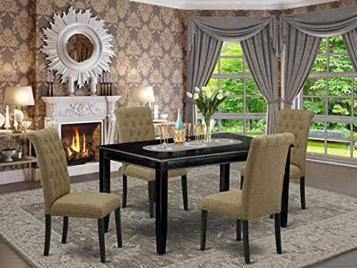 East West Furniture 5Pc Set Includes a Rectangle Dining Table and Four Parson Chairs with Light Sable Fabric, Black Finish