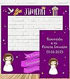 Photocall y Cartel de Comunión niña 100x100cm| Divertido y económico|Detalle de comunión| Hazte Unas Fotos Divertidas en el comunión de tu Hija| Personalizable