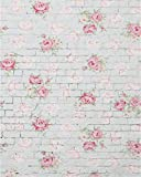 AOFOTO 4x5ft Sweet Rose Flowers on Vintage Brick Wall Background Birthday Decor Spring Photography Backdrop Kid Baby Girl Mother Lady Woman Artistic Portrait Photo Studio Props Video Drape Wallpaper