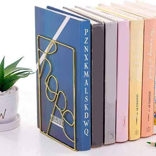 EAHUHO Juego de 2 sujetalibros de metal dorado, diseño geométrico, ideal para la organización de libros, revistas, CD, etc. Para la decoración del hogar en la oficina