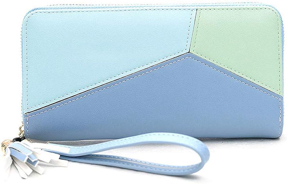 Wristlet Clutch Cell Phone Wallet, Splicing Leather Dual Zipper RFID Blocking Long Handbags Phone Travel Purse