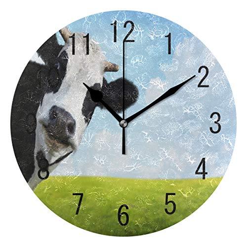 Use7Home Decor Kuh Kunstdruck Meadow grün Gras Acryl, rund Wanduhr Geräuschlos Silent Uhr Kunst für Wohnzimmer Küche Schlafzimmer