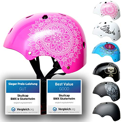 Skullcap® Skaterhelm Kinder Pink Pink Mandala - Fahrradhelm Mädchen ab 6 Jahre Größe 53-55 cm - Scoot and Ride Helmet Kids - Skater Helm für BMX Scooter Inliner Fahrrad Skateboard Laufrad