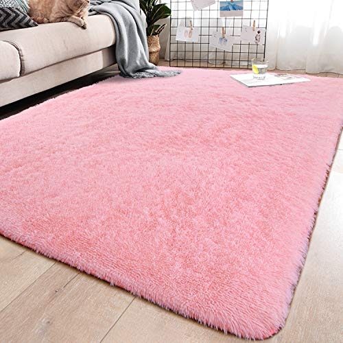 YJ.GWL Soft Pink Shaggy Area Rugs for Girls Room Bedroom Non-Slip Kids Carpet Baby Nursery Decor Fluffy Modern Rug 5.3 x 7.6 Feet