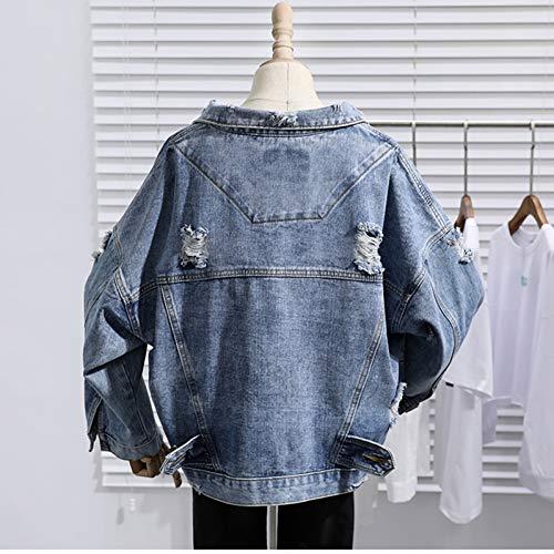 NSWTKL Jeansjas lente, herfst, vrouwen, jeansjack, harajuku stijl, grote losse vrouwelijke jeans, jasje, gat, BF outwear, unisex streetwear