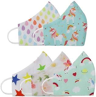 BABY JALEBI – Girls Set 1 - Super Soft Organic Cotton 3Ply Masks – Set Of 5 Masks With Extra Comfortable Stretch Jersey El...