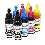 INK INSPIRATION Recarga Tinta Universal para Cartuchos y Sistema CISS Compatible con EPSON Canon HP Brother LEXMARK DELL RICOH, Multipack 8