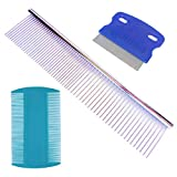 zYoung 3 Pcs Pet Stainless Steel Grooming Tool Poodle Finishing Butter Comb Dog Grooming Comb Tear Stain Remover Comb Dog Tears Dog Combs