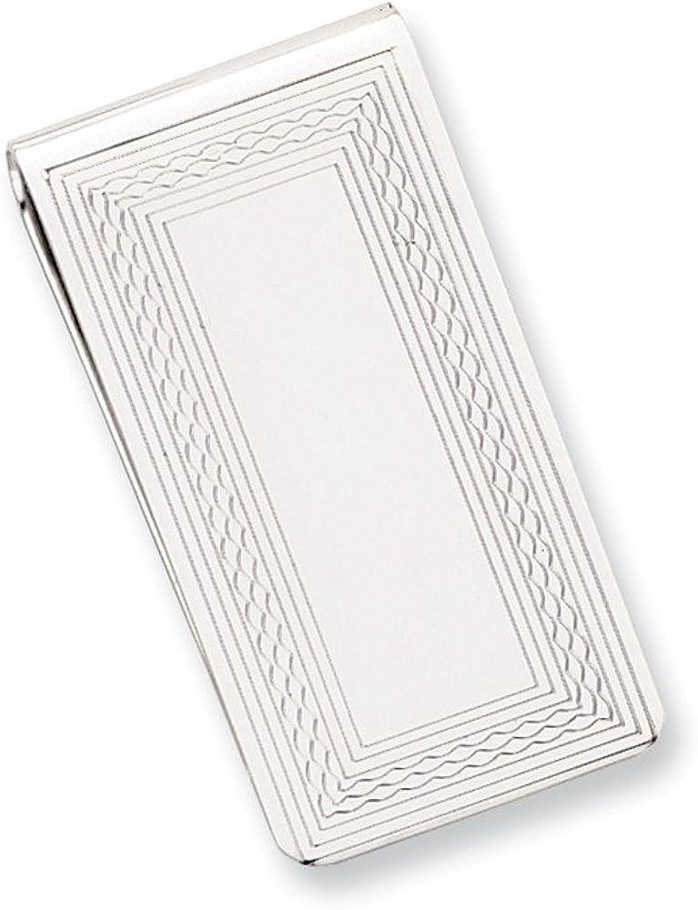 Solid Patterned Border Slim Business Credit Card Holder Money Clip - 50mm x 25mm