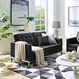 GGAA Sofa Couch Sofa Sofa Bed Loft Tufted Button Faux Leather Upholstered Sofa in Silver White (Color : Black, Size : Loveseat)