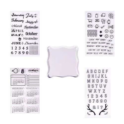 PandaHall Elite Transparente Sello de Silicona Transparente Sello para Scrapbooking Álbum de Fotos Decorativos, Hojas de Sello, Claro, 4 Pcs