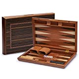 Yellow Mountain Imports Wooden Inlaid Backgammon Set - Dorne with Wooden Playing Pieces and Accessories, 13-inch Board