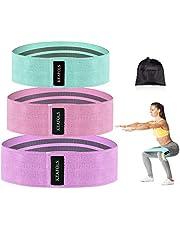KEAFOLS Weerstandsbanden, 3-delige set, antislip-trainingsbanden voor benen, stof, trainingsbanden, 3 weerstandsniveaus voor heupbillen, fitnessbanden voor vrouwen en heren, squate, pilates, yoga, bodybuilding