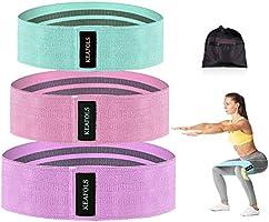 KEAFOLS Weerstandsbanden, 3-delige set, antislip-trainingsbanden voor benen, stof, trainingsbanden, 3 weerstandsniveaus...