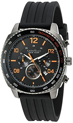 Caravelle New York Herren Analog Japanisch Quarz Uhr mit Silikon Armband 45B141